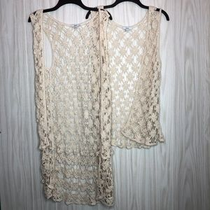 Celesta Crochet Knit Kimono Vest
